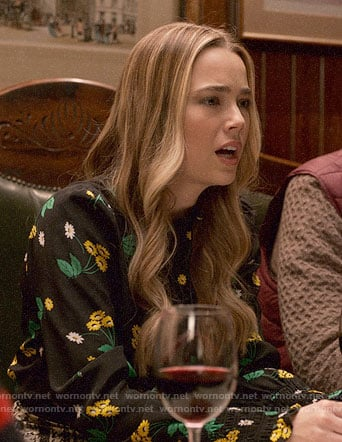 Ainsley's black daisy print blouse on Four Weddings and a Funeral