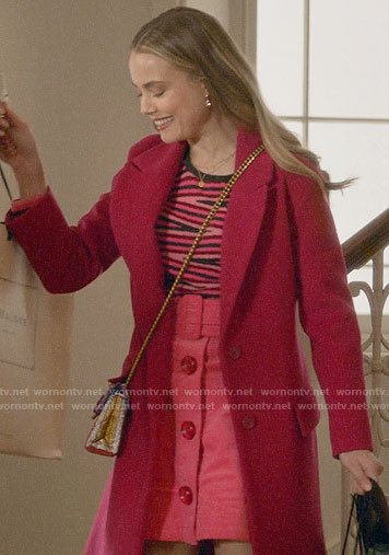 Ainsley's pink zig zag sweater and button front skirt on Four Weddings and a Funeral