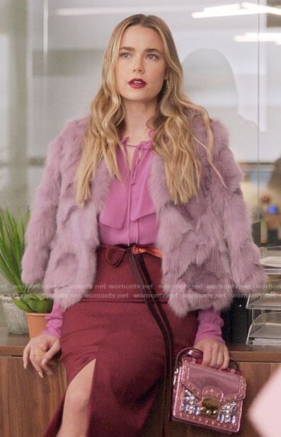 Ainsley's pink ruffled blouse and fur jacket on Four Weddings and a Funeral