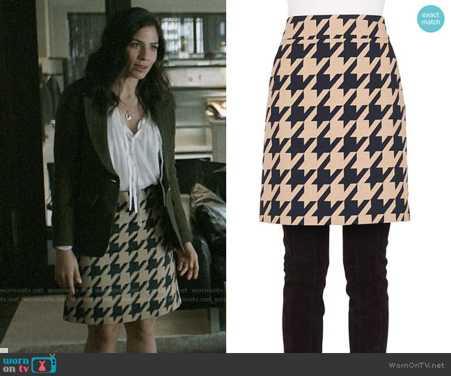 Akris Punto A-Line Houndstooth Skirt worn by Yoli Castillo (Isabel Arraiza) on Pearson