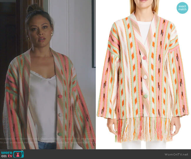 Fringe Trim Cashmere Blend Jacquard Cardigan by Alanui worn by Vanessa Lachey on BH90210