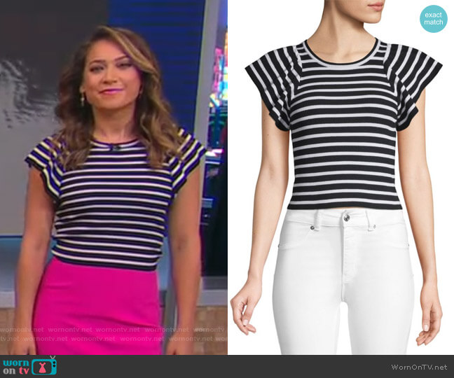 Striped Flutter-Sleeve Top by A.L.C. worn by Ginger Zee  on Good Morning America