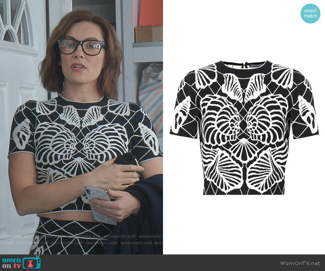 Jacquard Knit Top by Alexander McQueen worn by Quinn (Laura Benanti) on Younger