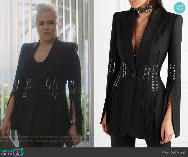 Lace-up Grain de Poudre Blazer by Alexander Mcqueen worn by Christine Elise  on BH90210
