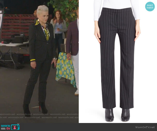 Pinstripe Cigarette Trousers by Alexander McQueen worn by Christine Elise  on BH90210