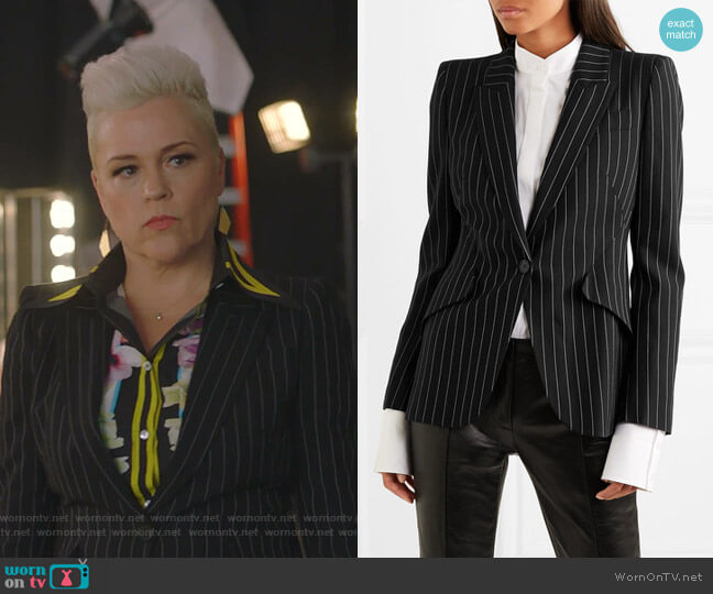 Pinstriped Blazer by Alexander McQueen worn by Christine Elise  on BH90210