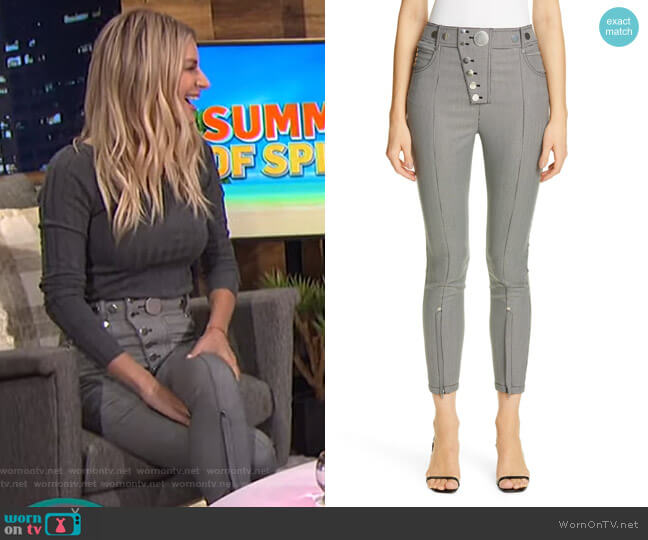 Zip Hem Houndstooth Legging Pants by Alexander Wang worn by Morgan Stewart  on E! News
