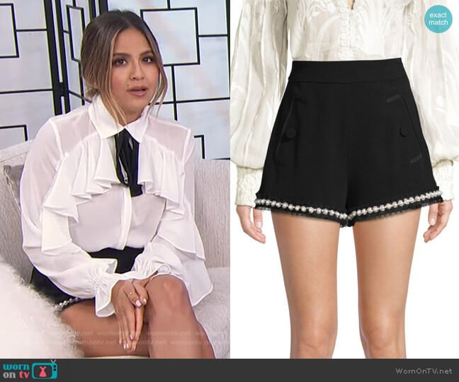Kendrick Imitation Pearl-Trim Shorts by Alexis worn by Erin Lim  on E! News