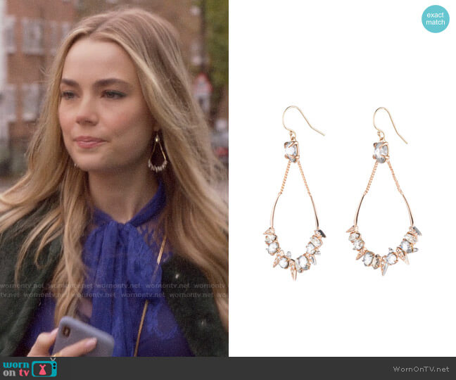 Alexis Bittar Crystal Encrusted Mosaic Drop Earrings worn by Ainsley Howard (Rebecca Rittenhouse) on Four Weddings & a Funeral
