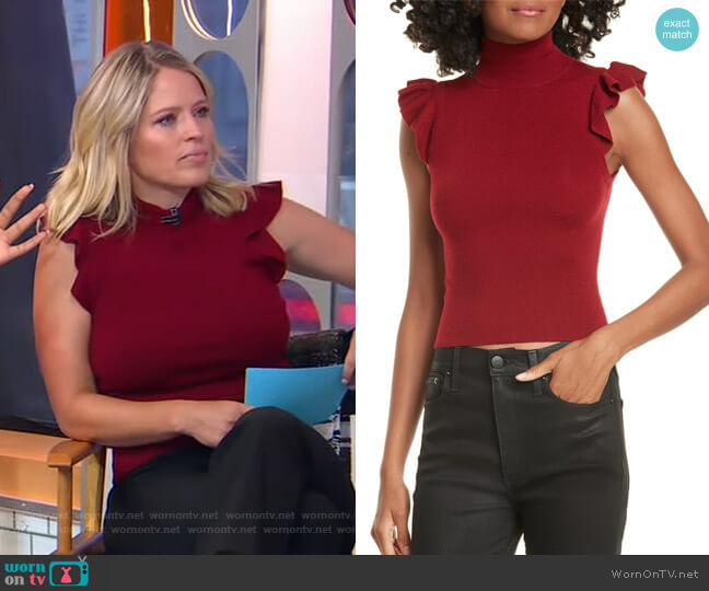 Lamara Ruffle Trim Tank Sweater by Alice + Olivia worn by Sara Haines  on Good Morning America
