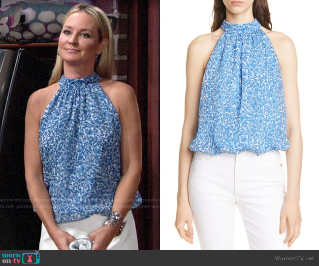 Alice + Olivia Maris Top in Hepatica White/ Cornflower worn by Sharon Collins (Sharon Case) on The Young & the Restless