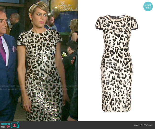 Alice + Olivia Nat Sequin Leopard Dress worn by Nicole Walker (Arianne Zucker) on Days of our Lives