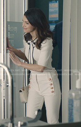 Alicia's white sailor pants on Grand Hotel