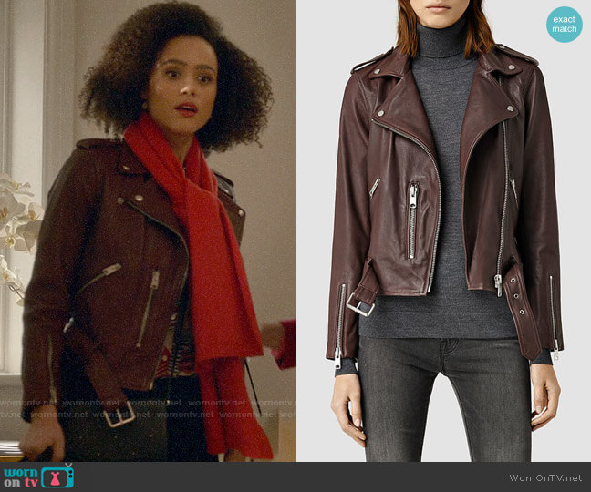 All Saints Balfern Leather Jacket worn by Maya (Nathalie Emmanuel) on Four Weddings & a Funeral