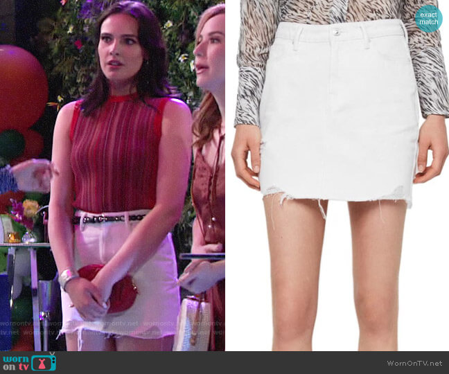 All Saints Betty Denim Skirt worn by Tessa Porter (Cait Fairbanks) on The Young & the Restless