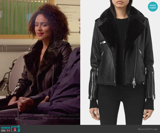 All Saints Higgens Jacket worn by Maya (Nathalie Emmanuel) on Four Weddings & a Funeral