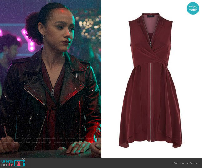 All Saints Jayda Dress worn by Maya (Nathalie Emmanuel) on Four Weddings & a Funeral