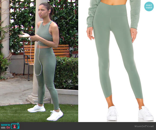 Alo Yoga High-Waist Tech Lift Airbrush Leggings worn by Elena Dawson (Brytni Sarpy) on The Young & the Restless