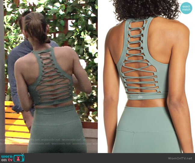 Alo Yoga Movement Lace-Up Sports Bra worn by Elena Dawson (Brytni Sarpy) on The Young & the Restless