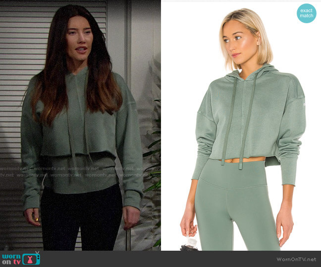 Alo Yoga Washed Edge Hoodie worn by Steffy Forrester (Jacqueline MacInnes Wood) on The Bold & the Beautiful