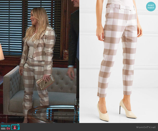 Cropped Gingham Skinny Pants by Altuzarra worn by Kelsey Peters (Hilary Duff) on Younger