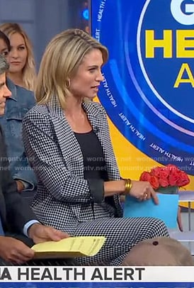 Amy's black gingham check suit on Good Morning America