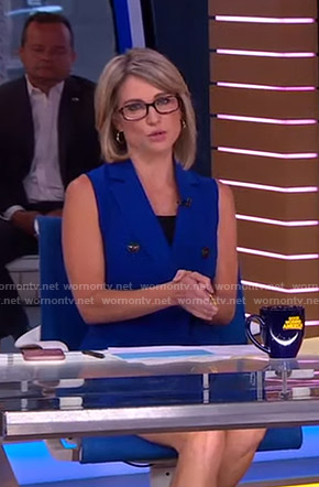 Amy's blue sleeveless blazer dress on Good Morning America