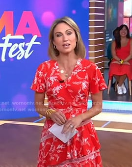Amy's red floral dress on Good Morning America