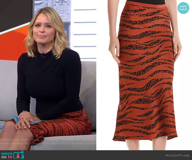 Bar Animal-Printed Silk Skirt by Anine Bing worn by Sara Haines  on Good Morning America