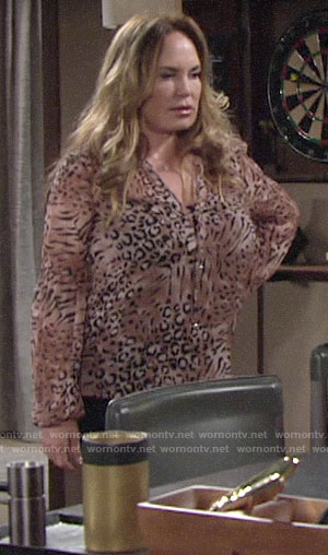 Anita's animal print blouse on The Young and the Restless