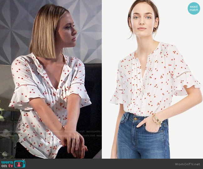 Ann Taylor Floral Pintucked Flutter Sleeve Top worn by Kiki Jerome (Hayley Erin) on General Hospital