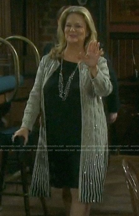 Anna's metallic topper jacket on Days of our Lives