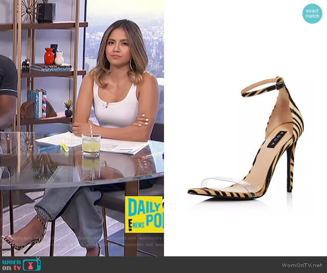Siri Clear & Calf Hair High-Heel Sandals by Aqua worn by Erin Lim  on E! News