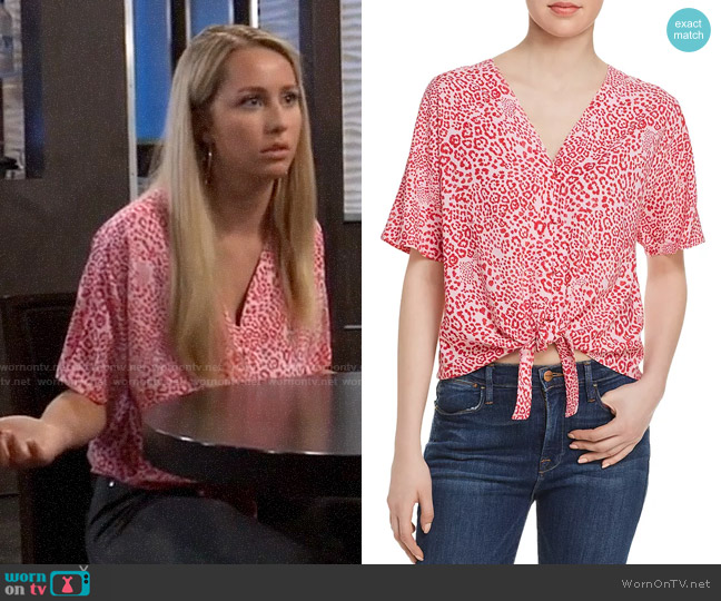 Aqua Tie-Front Cheetah Print Top worn by Josslyn Jacks (Eden McCoy) on General Hospital