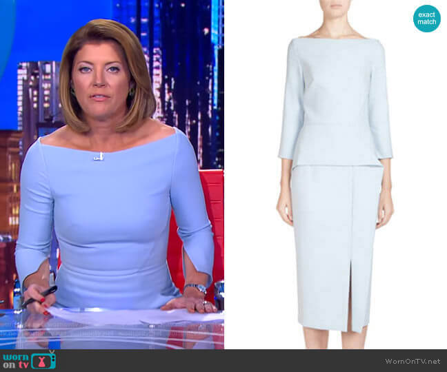 Ardingly Dress by Roland Mouret worn by Norah O'Donnell  on CBS Evening News