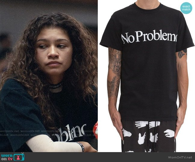 Aries No Problemo T-shirt worn by Rue Bennett (Zendaya) on Euphoria