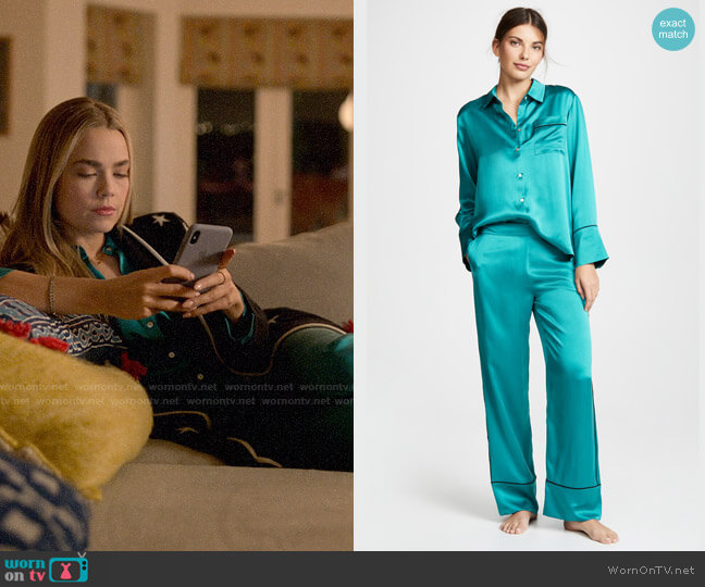 Asceno Emerald PJ Top and Bottoms worn by Ainsley Howard (Rebecca Rittenhouse) on Four Weddings & a Funeral