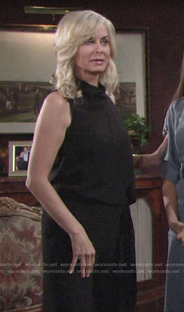 Ashley's black draped front jumspuit on The Young and the Restless