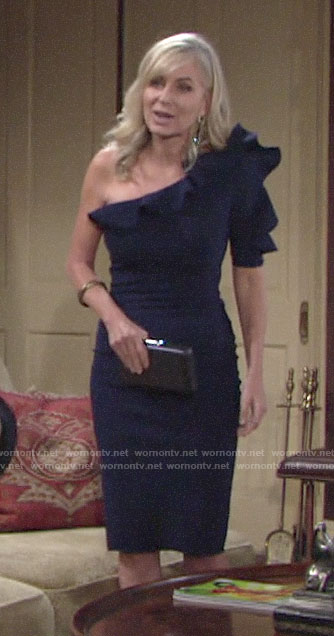Ashley's navy blue one-shoulder ruffled dress on The Young and the Restless