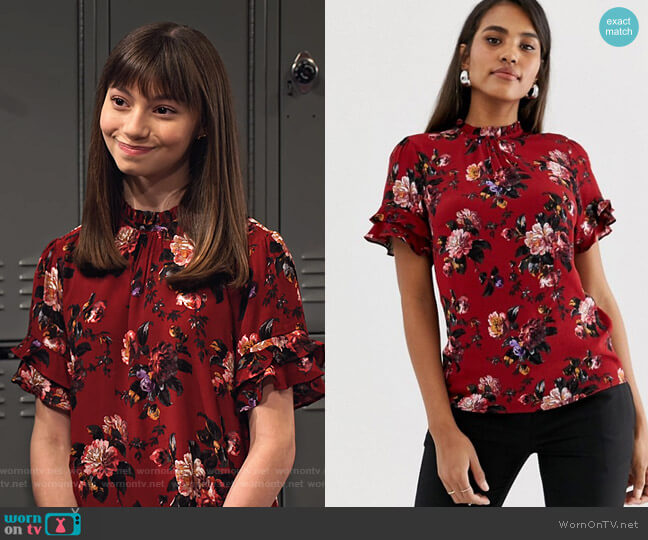 High Neck Blouse with Ruffle Cap Sleeves by Oasis worn by Molly (Lauren Lindsey Donzis) on No Good Nick