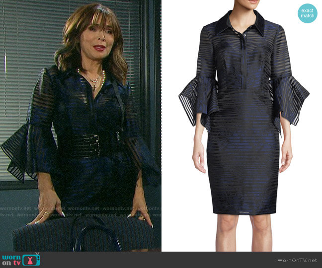 Badgley Mischka Collection Sheer Striped Trumpet-Sleeve Shirtdress worn by Kate Roberts (Lauren Koslow) on Days of our Lives
