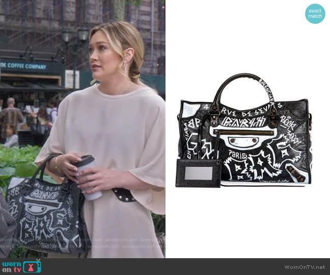 Classic City Graffiti Bag by Balenciaga worn by Kelsey Peters (Hilary Duff) on Younger