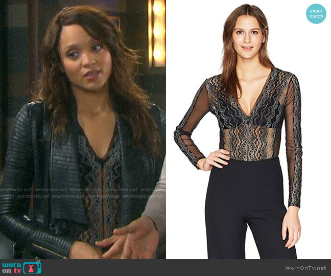 Bcbgmaxria Theo Lace Bodysuit worn by Lani Price (Sal Stowers) on Days of our Lives