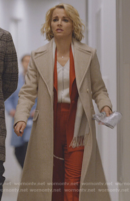 Lizzie's beige wrap coat on Instinct