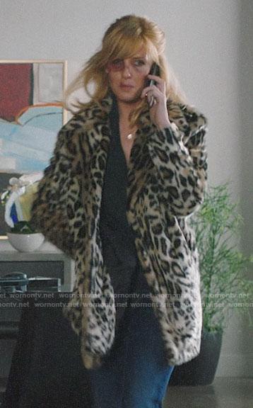 Beth's leopard fur coat on Yellowstone