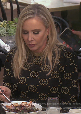 Shannon's black and gold Gucci logo sweater on The Real Housewives of Orange County
