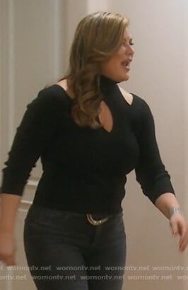 Emily's black cutout sweater on The Real Housewives of Orange County