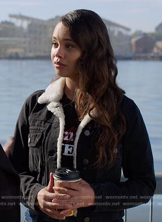 Jessica's black denim shearling jacket on 13 Reasons Why