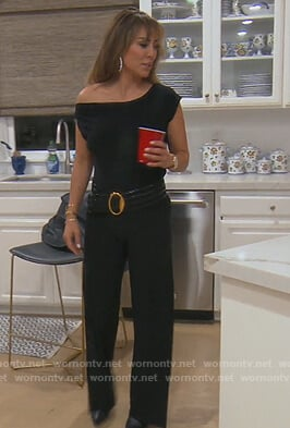Kelly's black drop shoulder jumpsuit on The Real Housewives of Orange County