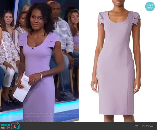 Amelie Dress in Violet Vista by Black Halo worn by Janai Norman  on Good Morning America